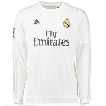 2015-2016 Real Madrid Adidas Home Long Sleeve Shirt (Kids)