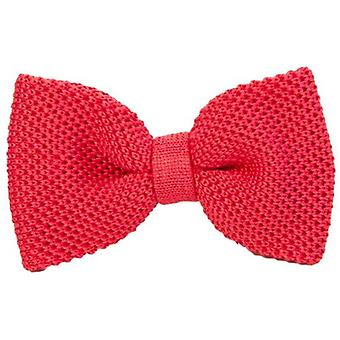 40 Colori Solid Pre-Tied Silk Bow Tie - Red Pink