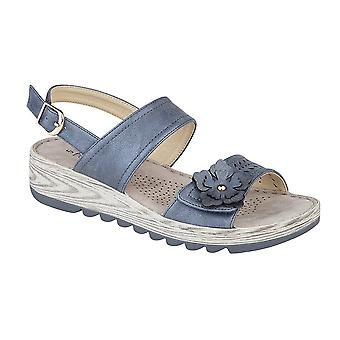 Boulevard Womens/Ladies Metallic Halter Back Flower Sandals