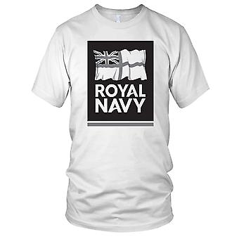 Royal Navy B&W Flag Logo Mens T Shirt