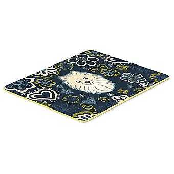 Carolines Treasures  BB5058CMT Blue Flowers Pomeranian Kitchen or Bath Mat 20x30