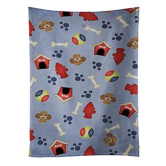 Dog House Collection Chocolate Brown Poodle Kitchen Towel