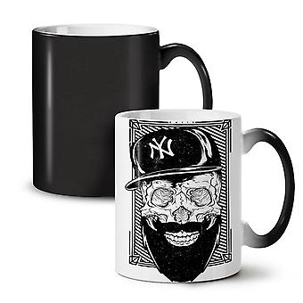 Swag Beard Face Skull NEW Black Colour Changing Tea Coffee Ceramic Mug 11 oz | Wellcoda