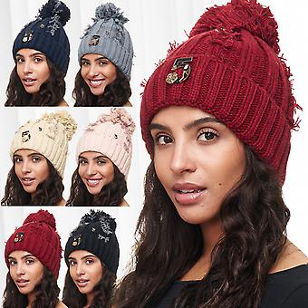 Ladies Beanie knit hat Teddy lining Bobble Hat Bobble fed