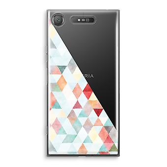 Sony Xperia XZ1 Transparant Case - Coloured triangles pastel