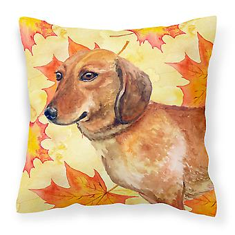Carolines Treasures  BB9913PW1414 Dachshund Fall Fabric Decorative Pillow