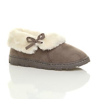 Ajvani kvinners flat vinter faux sheepskin pels vaskbare luksus slip på ankel sokker tøfler