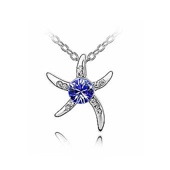 Starfish argent Collier pierre bleue foncé des femmes