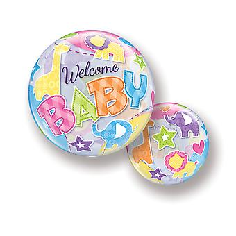 Ballon Bubble Kugel  Baby Kleinkind Pinkelparty Welcome Baby  Sterne Tiere circa 55cm Ballon