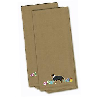 Sheltie Easter Tan Embroidered Kitchen Towel Set of 2