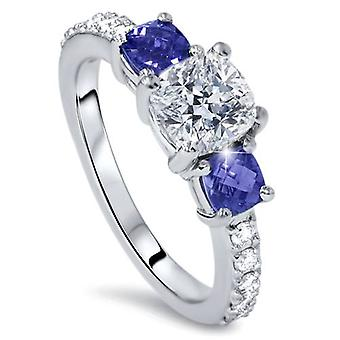 3.25ct Cushion Diamond & Treated Blue Sapphire Engagement Ring 14k Enhanced