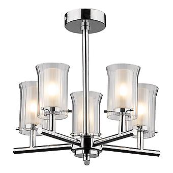 Elba 5 Lighting Semi Flush Polished Chrome IP44