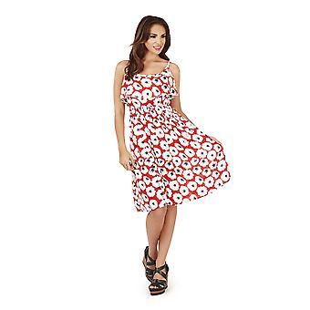 Pistachio, Ladies Frill Overlay Short Floral Dress , Red Poppy, Small (UK 8-10)