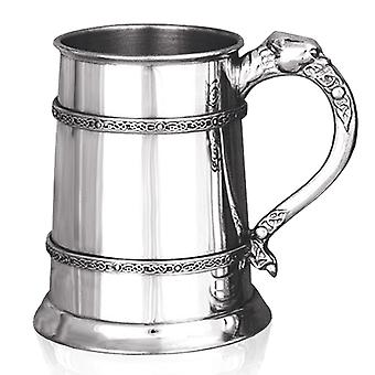 Celtic Lion Handle Double Band Pewter Tankard - 1 Pint