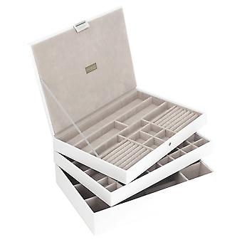 Stackers by LC Designs White & Grey Supersize Set of 3 Jewellery Trays