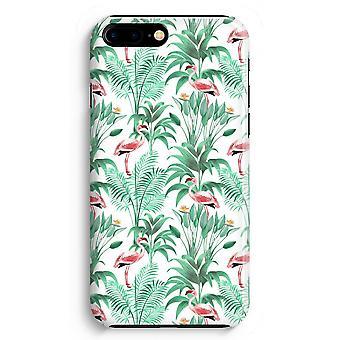 iPhone 8 Plus Full Print Case (Glossy) - Flamingo leaves