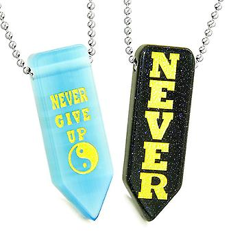 Never Give Up Amulets Yin Yang Love Couples Goldstone Blue Simulated Cats Eye Arrowhead Necklaces