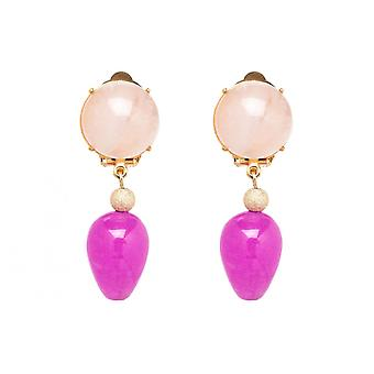 Gemshine Earrings Earrings Gold plated RoseQuartz Jade Pink TROPFEN 3.5 cm