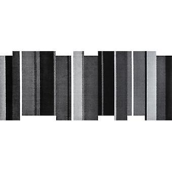 wash + dry dancing steps black 80 x 200 cm washable rug