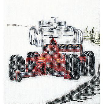 Motor Racing On Aida Counted Cross Stitch Kit-6.25