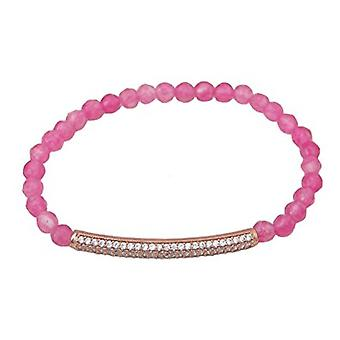 Hematite Beaded 18 carat gold plated silver bracelet (Pink Natural Stone)