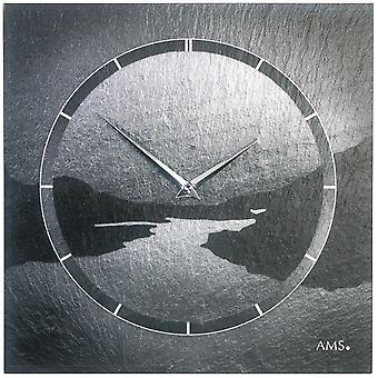AMS 9512 wall clock quartz of slate natural slate motif fjord slate clock silver