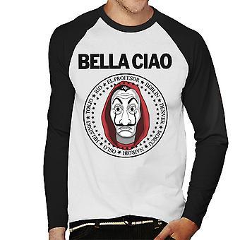 Rapina di denaro Bella Ciao da Baseball maschile a maniche lunghe t-shirt