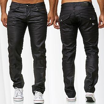 Mens Coated Jeans Pants Waxed Trousers Slim Fit Leather Optics Glossy