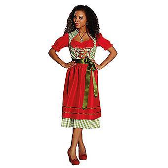 Grønne røde Dirndl Bayern kjole Yodelling kjole forklæde kostume til kvinder