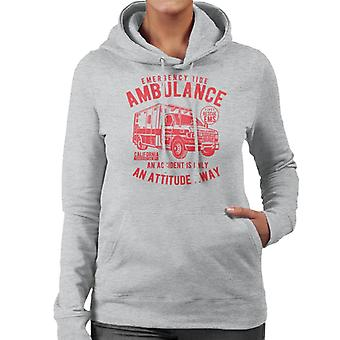 Emergency Ride Ambulance Retro Logo Women's Hooded Sweatshirt