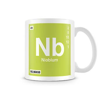 Wetenschappelijke bedrukte Mok met Element symbool 041 Nb - Niobium