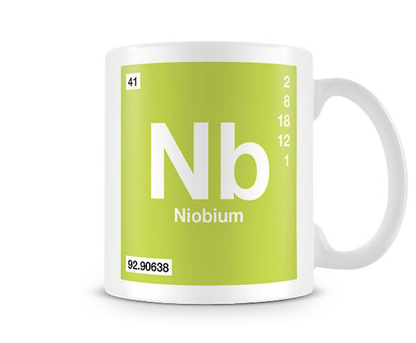 Scientific Printed Mug Featuring Element Symbol 041 Nb - Niobium