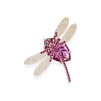 Rosa Brosche mit Kristallen von Swarovski 7065