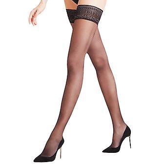 Falke Seidenglatt 15 Den Stay Up Transparent Stockings - Black