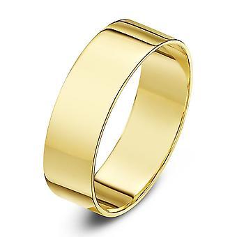 Gwiazda 9ct żółte złoto światło płaski kształt 6mm obrączka obrączki ślubne