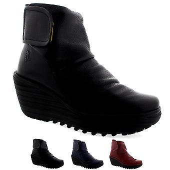 Womens Fly London Yegi kile hæl Velcro skinn vinter ankelen støvler sko