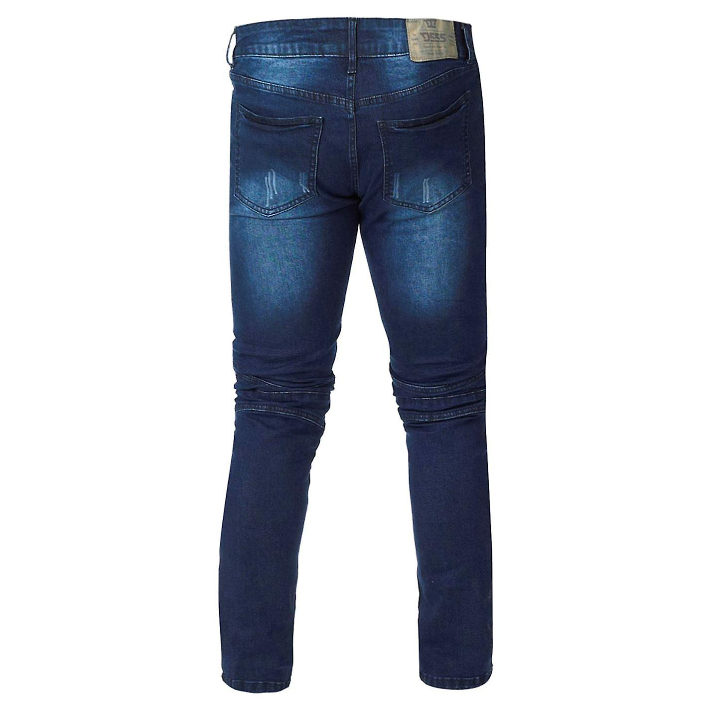 D555 Mens Troy Biker Jean Tapered Jeans Pants Trousers Bottoms Skinny Fit