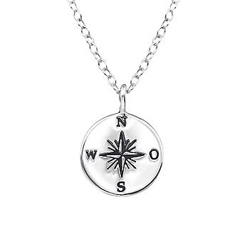 Compass - 925 Sterling Silver Plain Necklaces - W37900x
