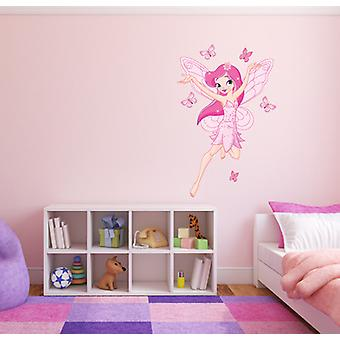 Full Colour Pink Fairy Butterflies Wall Sticker