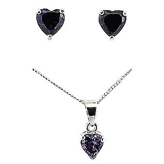 TOC Sterling Silver Purple Rhinestone Heart Earrings & Pendant Necklace 18