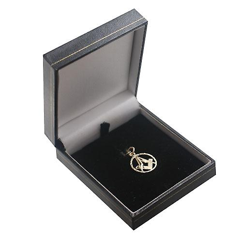 9ct Gold 18mm engraved Masonic emblem in a circle Pendant