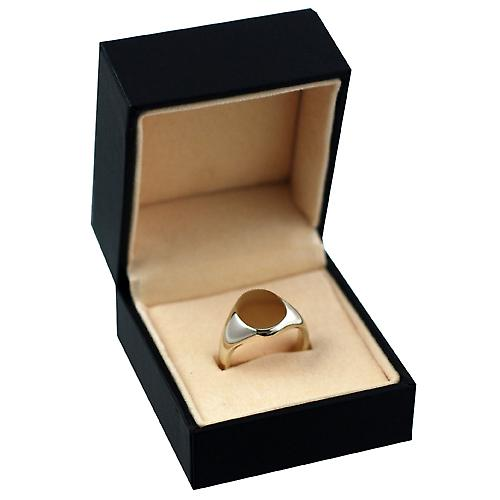 9ct yellow gold ladies plain oval signet ring 13x10mm