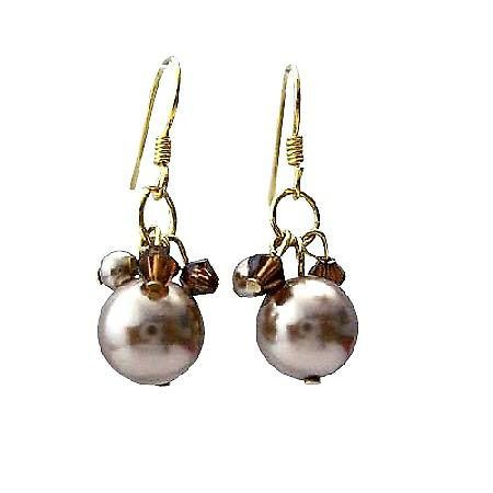 Bronze Pearl Swarovski Smoked Topaz Crystals 22k Gold Plated Earrings