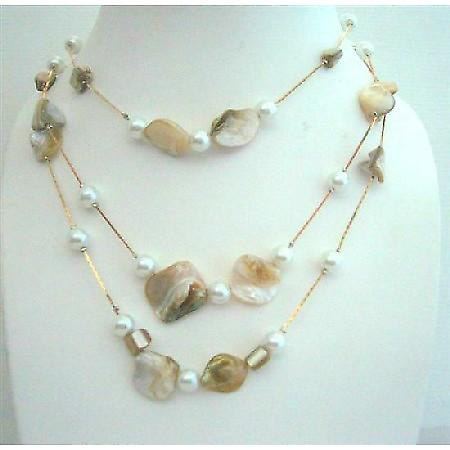 3 Strands Shell & Pearl White Shell & Simulated Pearl Long Necklace