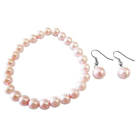 Pink Pearls Jewelry Bracelet Sterling Silver Hook Earrings