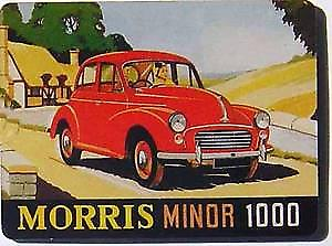 Morris Minor advert mini metal sign