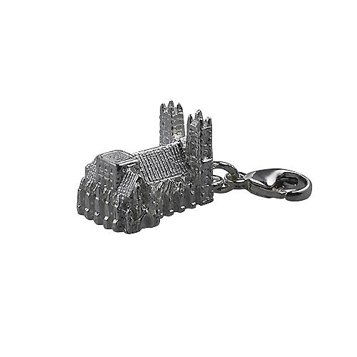 Silver 10x13mm hollow Westminster Abbey Charm on a lobster trigger
