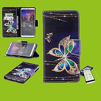 For Samsung Galaxy M20 6.3 inch faux leather bag wallet motif 32 + H9 hard glass protection sleeve case cover pouch new