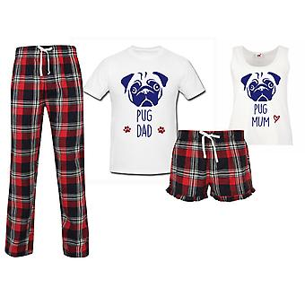 Pug Mum Pug Dad Couples Matching Pyjama Tartan Set
