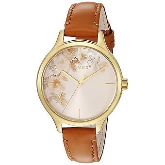 Timex Womens Crystal Bloom accento floreale Tan/oro Leather Strap Watch TW2R66900